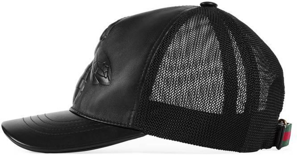 6e13a70c Gucci Bee-embossed Leather Baseball Hat in Black for Men - Lyst