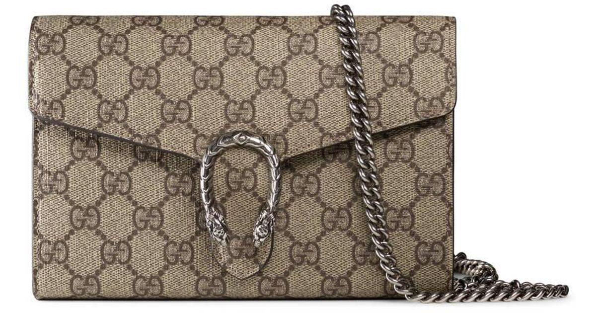 3dfbdd769861 Gucci Dionysus Gg Supreme Chain Wallet in Gray - Lyst