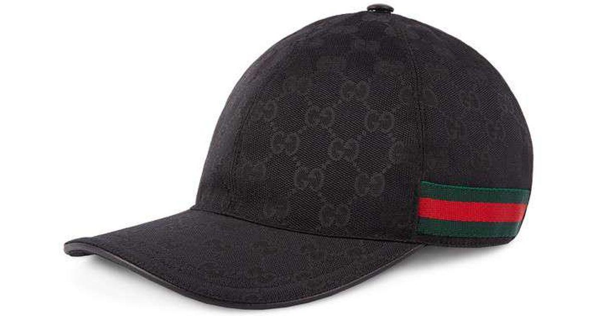b7ae45ffdea Gucci - Black Original GG Canvas Baseball Hat With Web for Men - Lyst