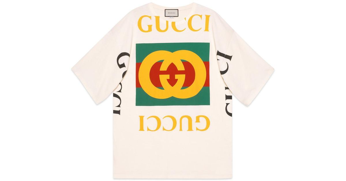 7e3d89316 Gucci Oversize T-shirt With Logo in White - Lyst