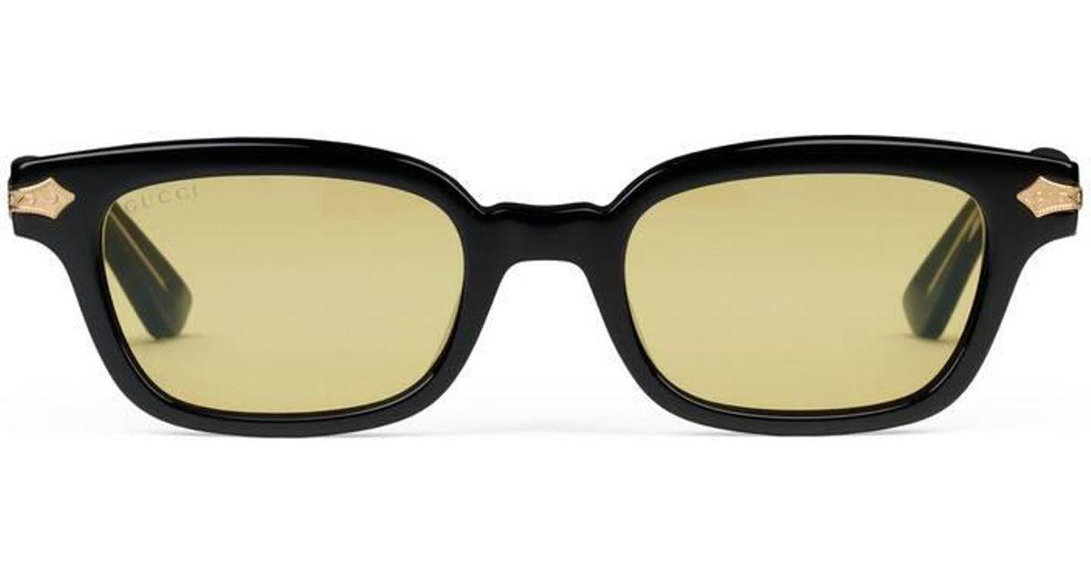 340b7359a70e8 Gucci Rectangular-frame Acetate Sunglasses in Black for Men - Lyst