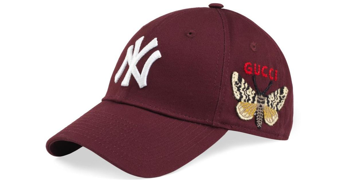 7ecd7e60ecb22 Gucci Baseball Cap With Ny Yankeestm Patch in Red - Lyst