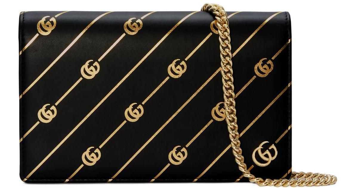 dc3f809ca3bc Gucci Mini Leather Chain Bag With Double G Stripe in Black - Lyst