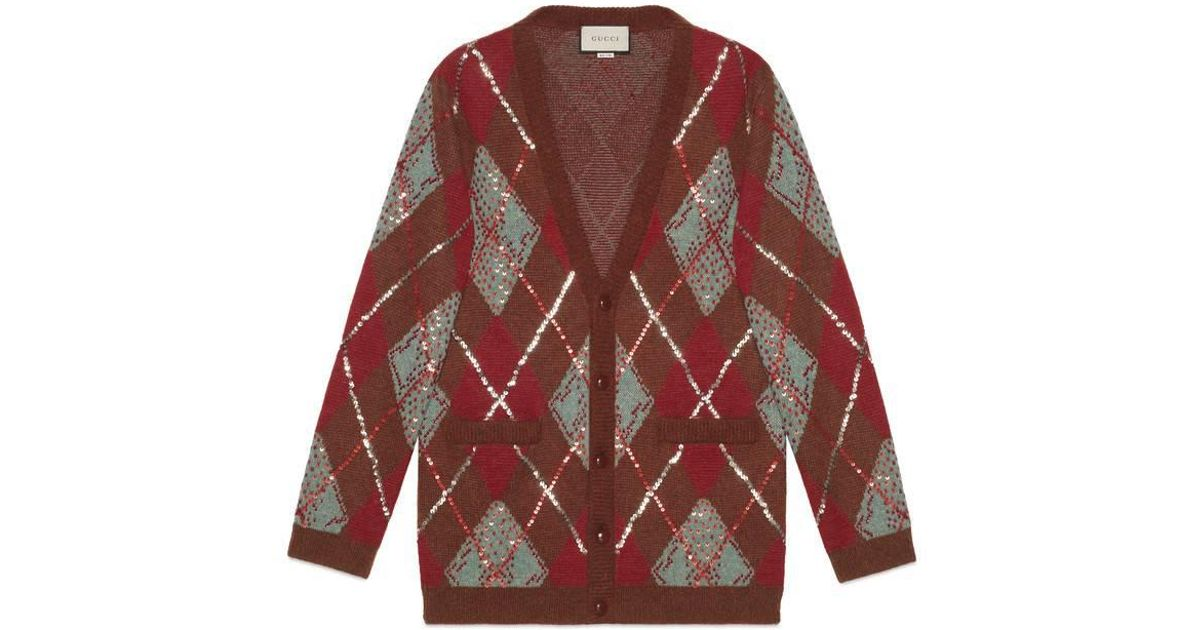 5e13632a5 Lyst - Gucci Oversize Argyle Cardigan in Red for Men