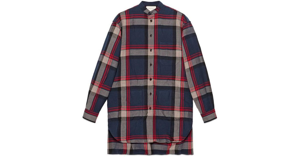 12963aaa Gucci Check Wool Oversize Shirt in Blue for Men - Lyst