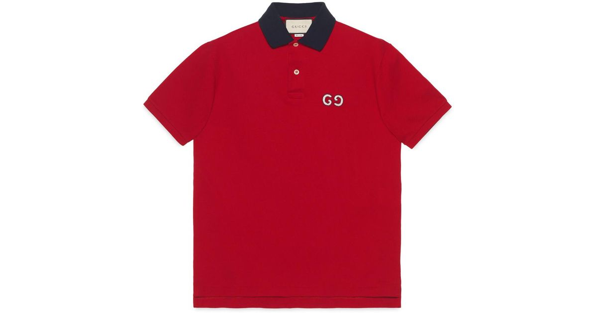 7c4fd9a5d457 Gucci Polo With GG Embroidery in Red for Men - Lyst