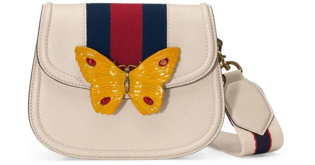 cd0e250faea Lyst - Gucci Totem Leather Shoulder Bag With Butterfly in White