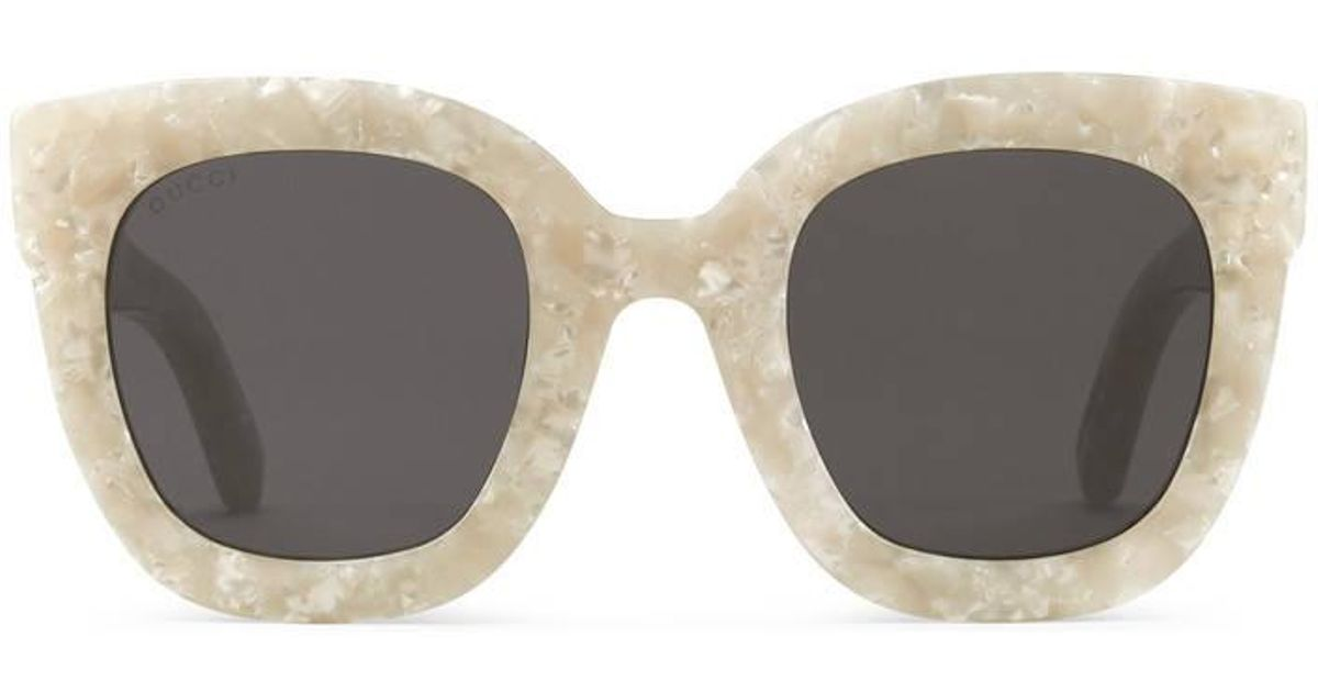 ff020a129 Gucci Round-frame Acetate Sunglasses With Star in White - Lyst