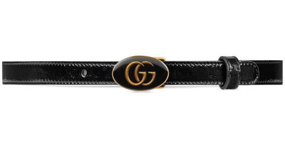 Lyst - Ceinture en cuir avec boucle ovale en émail Gucci en coloris Noir 2f286cd18da