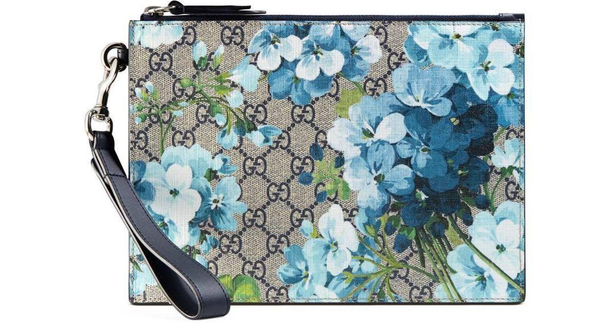 32846de89a56f7 Gucci Gg Blooms Pouch in Blue - Lyst