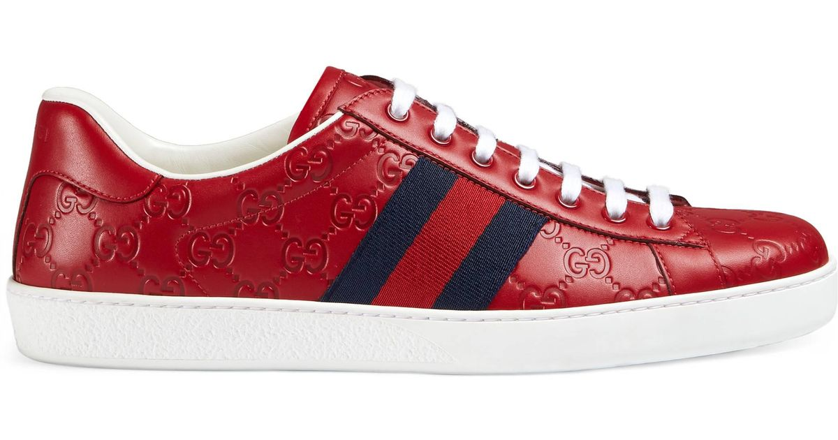 Gucci Red sneakers Gucci Ace Signature Sneaker in Red for Men - Lyst