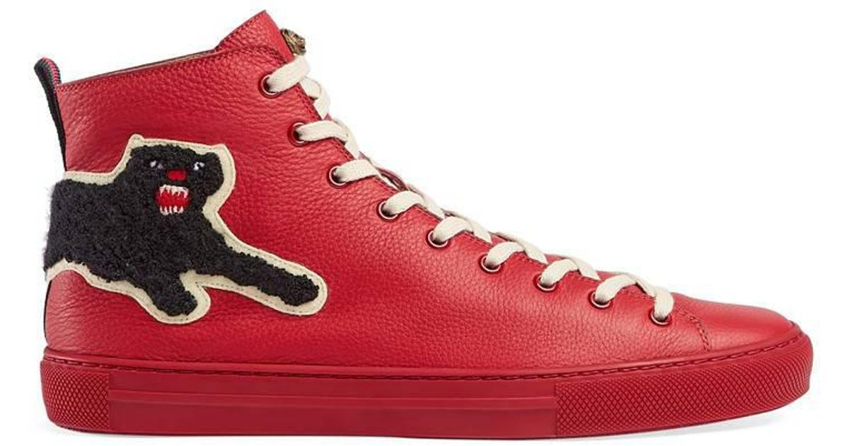 Gucci Red sneakers Gucci Leather High-top With Panther in Red for Men - Lyst