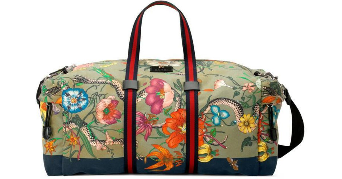 3a297598088 Lyst - Gucci Flora Snake Print Duffle in Green for Men