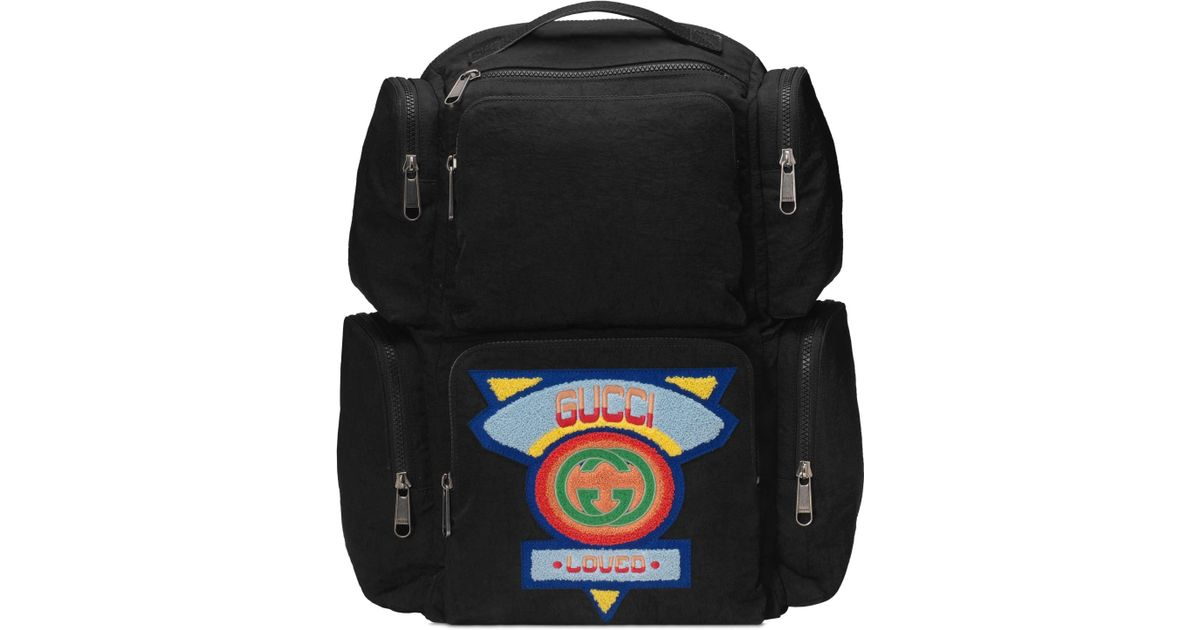 492c99f1c59 Gucci Black Large Backpack With  80s Patch in Black for Men - Lyst