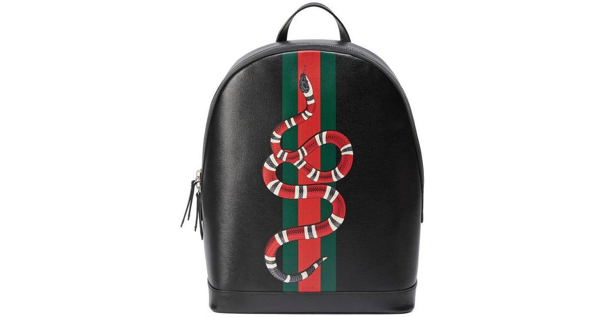a400227e7 Gucci Web And Snake Print Leather Backpack in Black for Men - Lyst