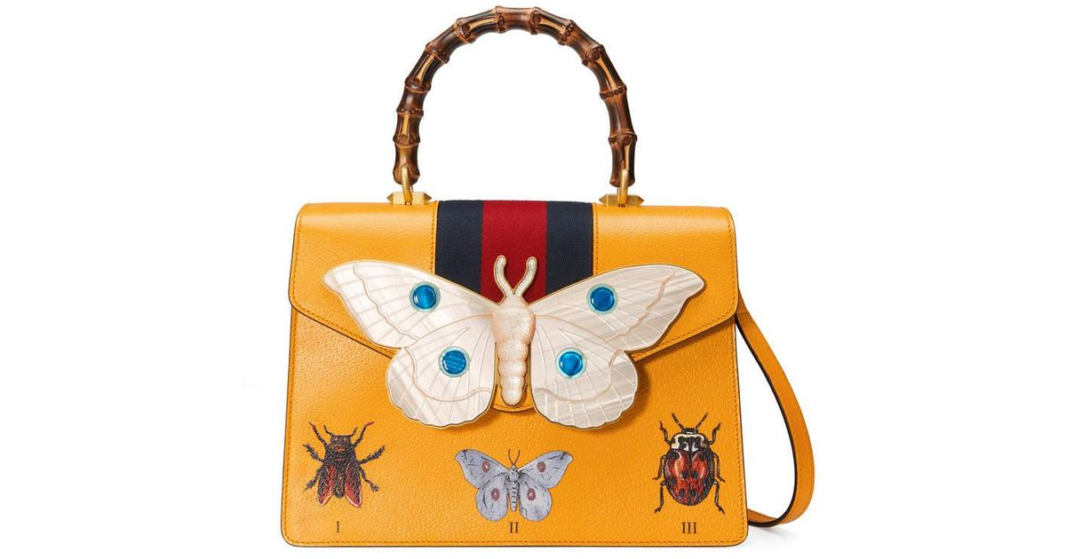 62600cf91 Gucci Leather Top Handle Bag With Moth in Yellow - Lyst