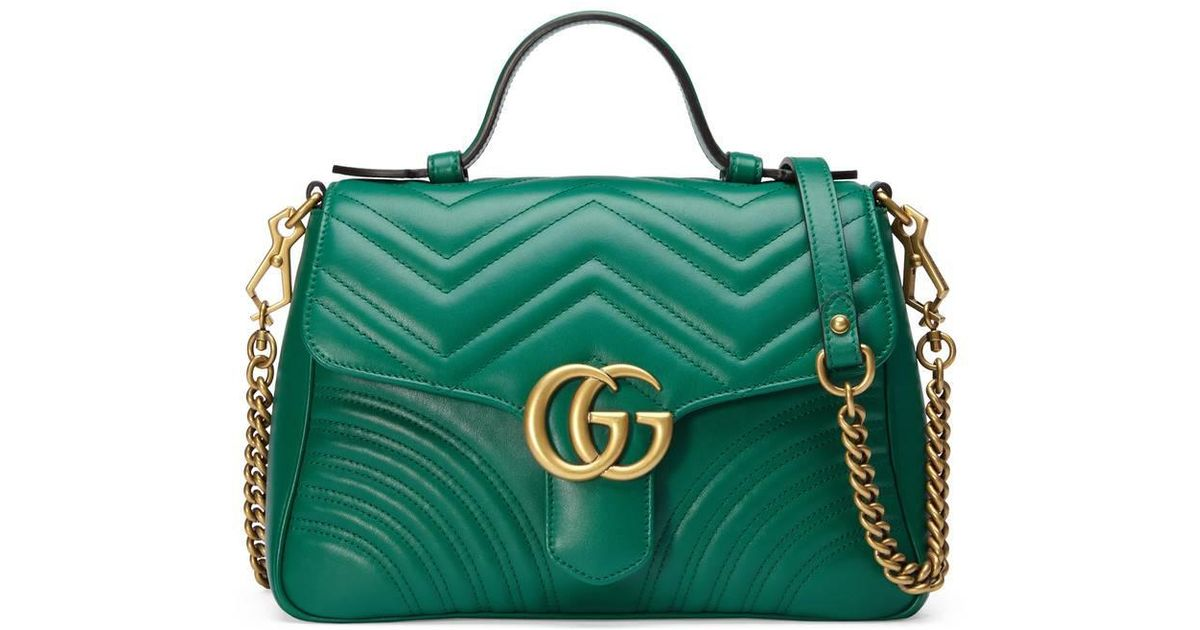 c79990e29 Gucci Gg Marmont Small Top Handle Bag in Green - Lyst