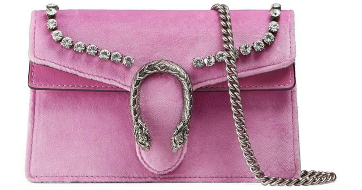 be7ae93b6b8 Lyst - Gucci Dionysus Suede Super Mini Bag With Crystals in Pink