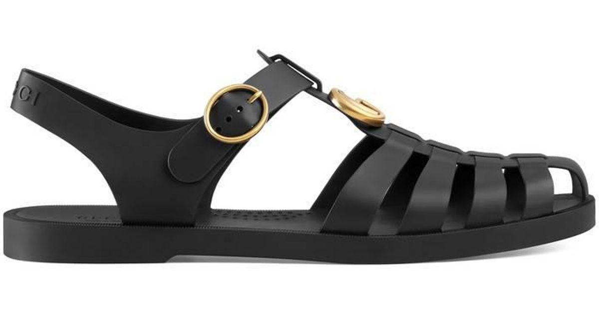 8306811c5c77 Lyst - Gucci Rubber Buckle Strap Sandals in Black for Men - Save 6%