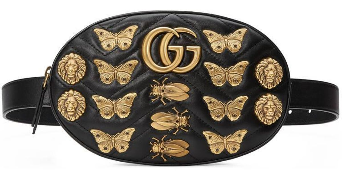 6937d807464 Lyst - Gucci Gg Marmont Animals Studs Leather Belt Bag in Black