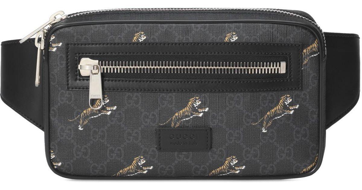 0848cc3b731c Lyst - Gucci Soft GG Supreme Tigers Belt Bag in Black for Men