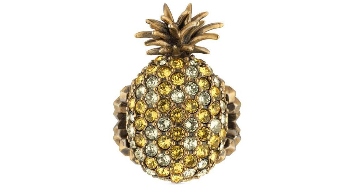 Gucci Pearl studded pineapple ring in metal RlxSq