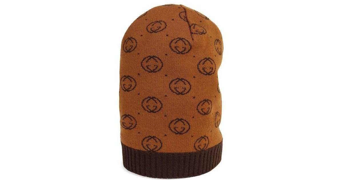 Lyst - Bonnet -Dapper Dan en laine Gucci en coloris Marron 4fbf372263a