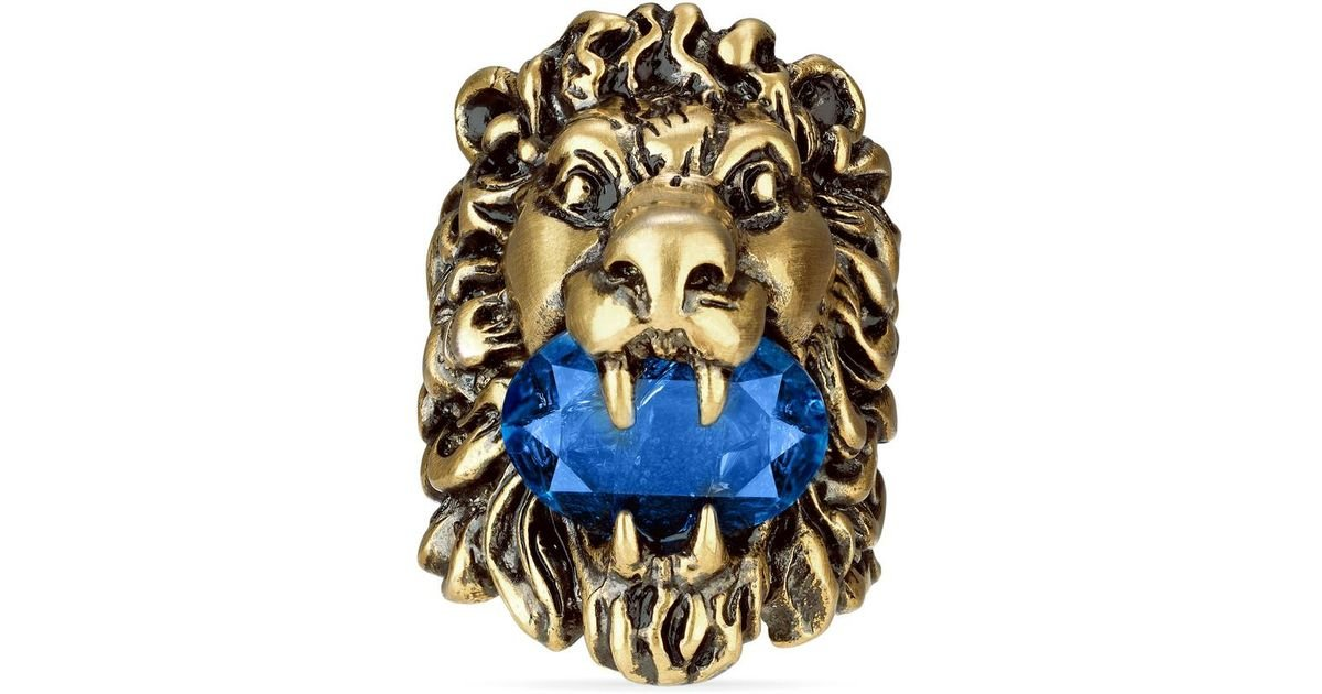 a438702f6 Gucci Lion Head Ring With Crystal in Blue - Lyst