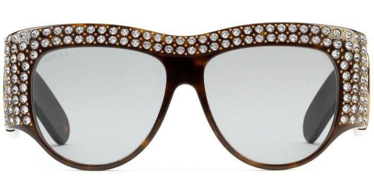 3b4958c80e880 Lyst - Lunettes de soleil oversize en acétate avec cristaux Gucci