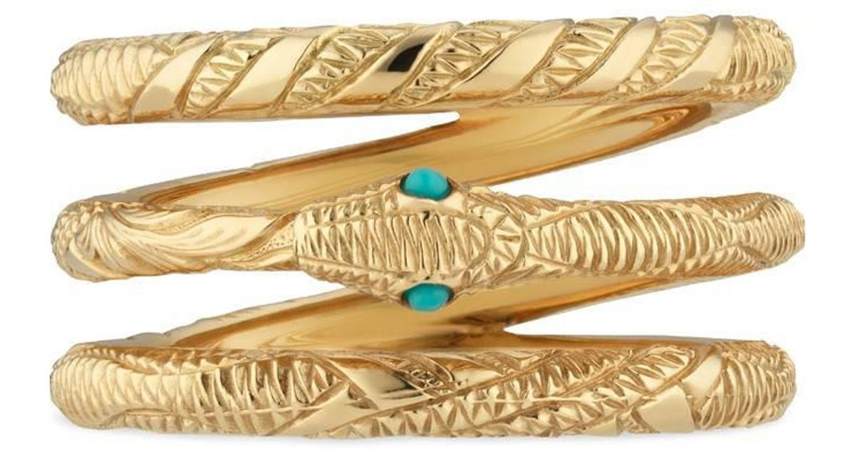 2afa764b7 Gucci Three Band Ouroboros Ring In Yellow Gold in Yellow - Lyst