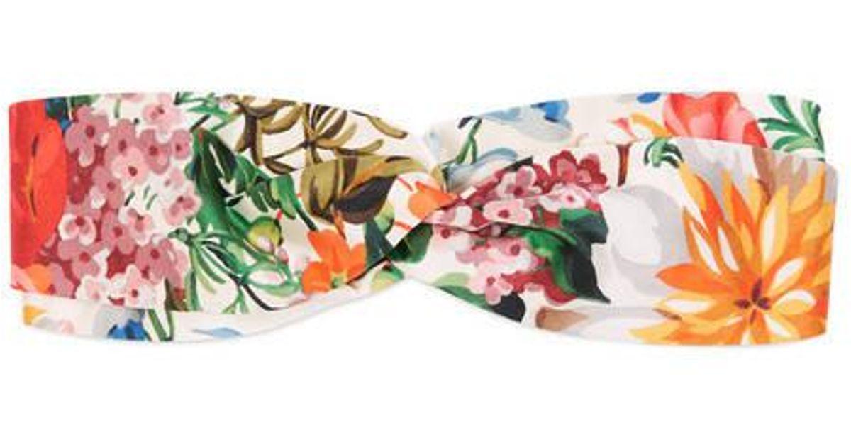 c1a0d20c64e Lyst - Gucci Flora Print Silk Headband in White