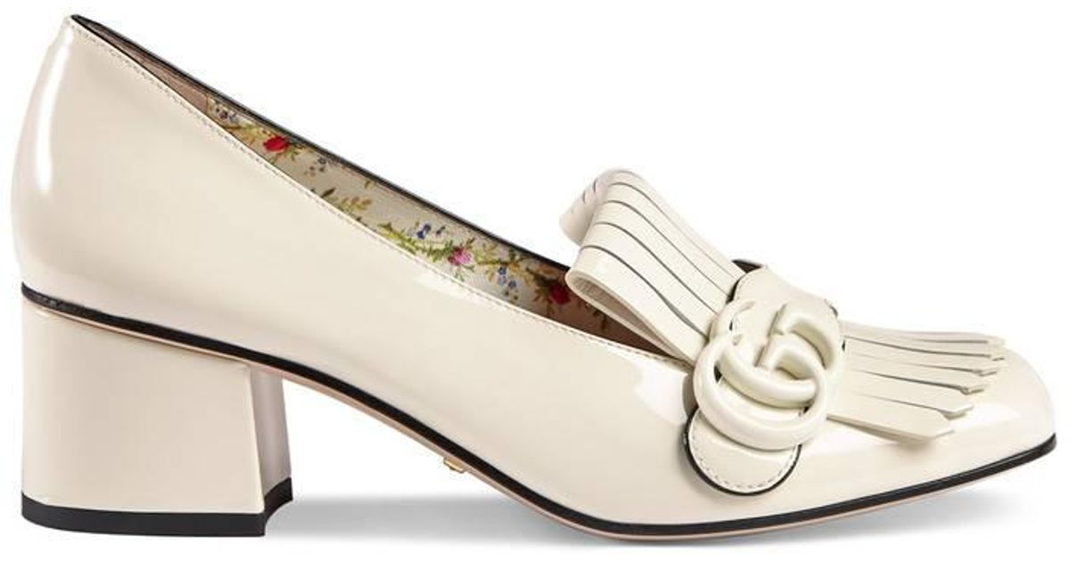 cbd2a40d51b Gucci Marmont Patent Leather Mid Heel Pump in White - Lyst