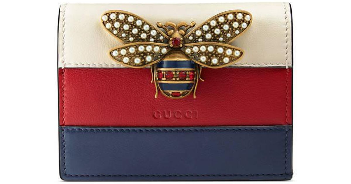72585ce21d4 Lyst - Gucci Queen Margaret Leather Card Case in Red