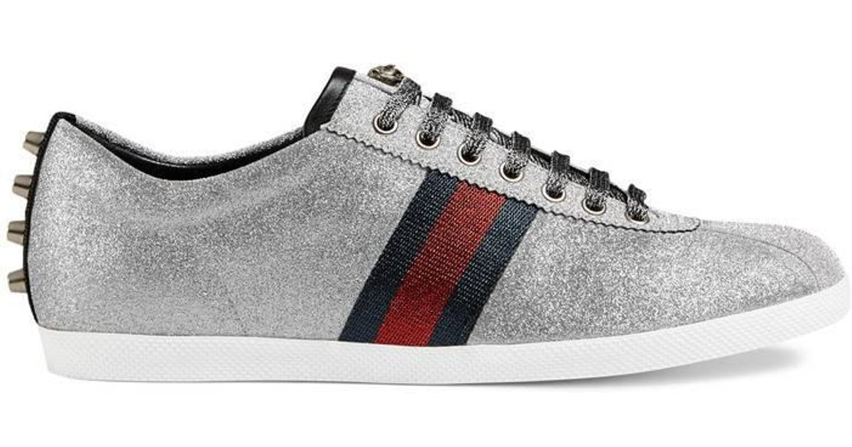 24f7d8b964a Lyst - Gucci Men s Bambi Web Low-top Sneakers With Stud Detail for Men