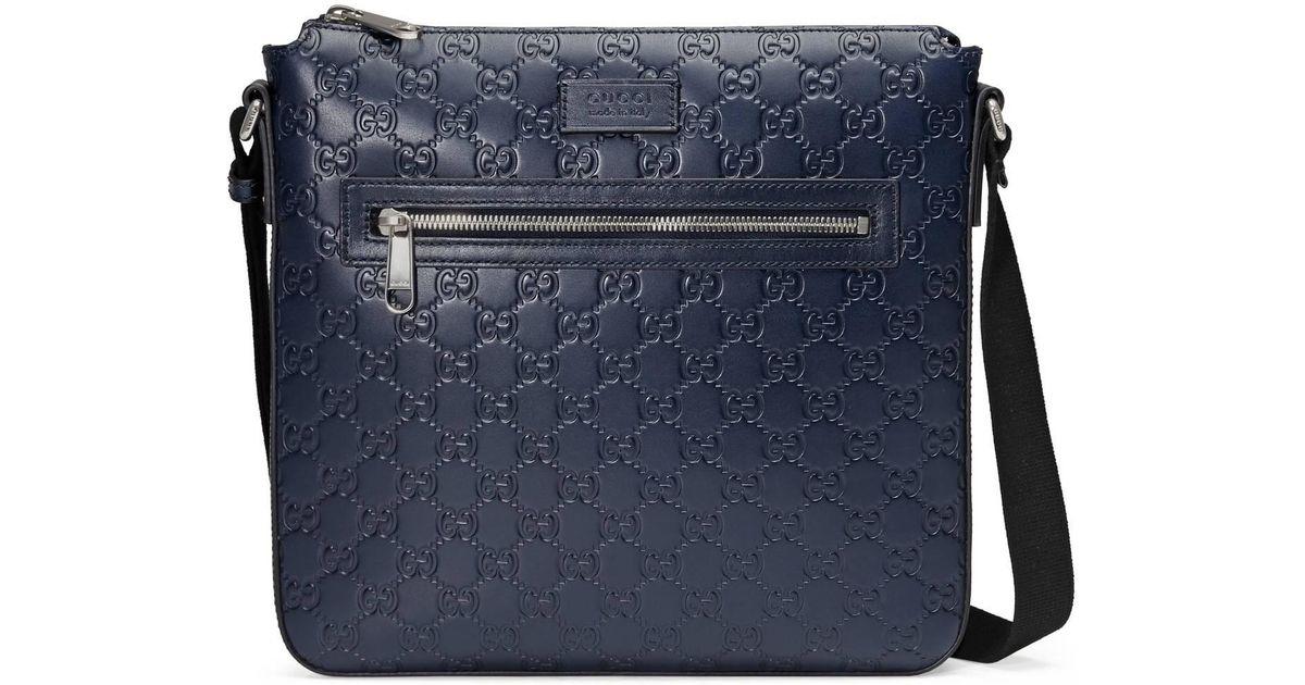 583e17e5e79 Lyst - Gucci Signature Leather Messenger in Blue for Men - Save 27%