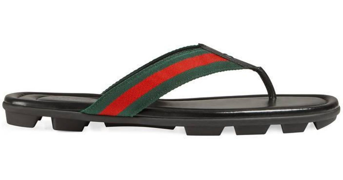 f65fa13fc4a Lyst - Gucci Web And Leather Thong Sandal in Red for Men