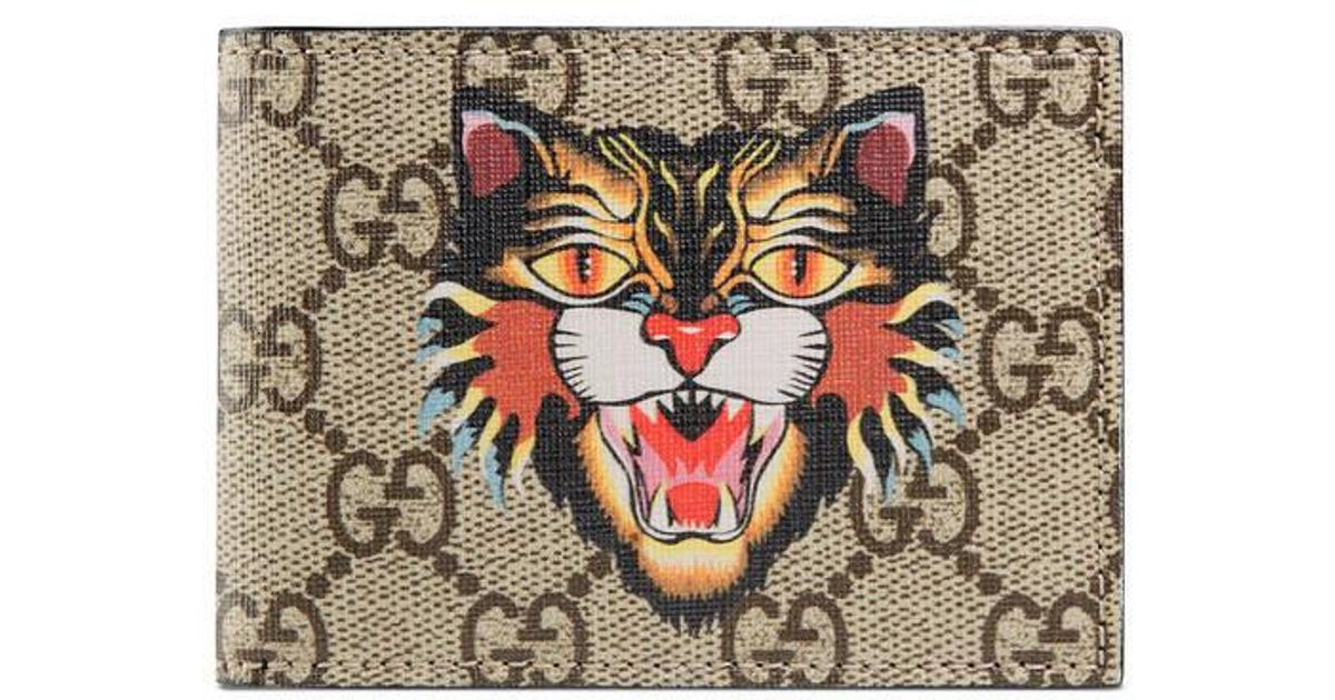 091b8b900dd7 Lyst - Gucci Angry Cat Print Gg Supreme Wallet in Natural for Men