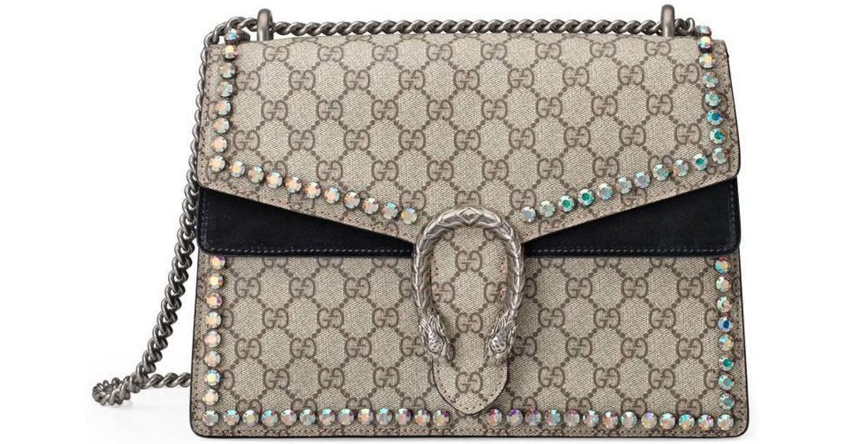 5726b850147a26 Gucci Dionysus Gg Supreme Shoulder Bag With Crystals - Lyst