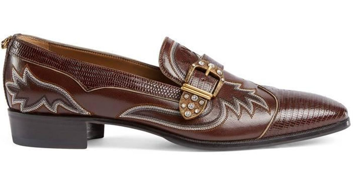 249bbf92cd7 Lyst - Gucci Embroidered Leather And Lizard Loafer in Brown for Men