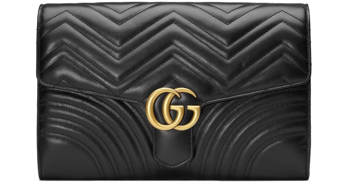 2236cc9568 Gucci Gg Marmont Matelassé Clutch in Black - Save 3% - Lyst