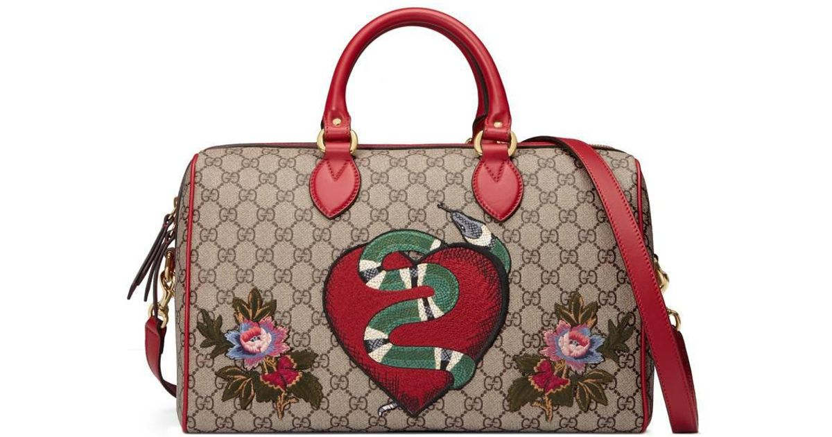 69e5f749e26 Gucci Limited Edition Gg Supreme Top Handle Bag With Embroideries In