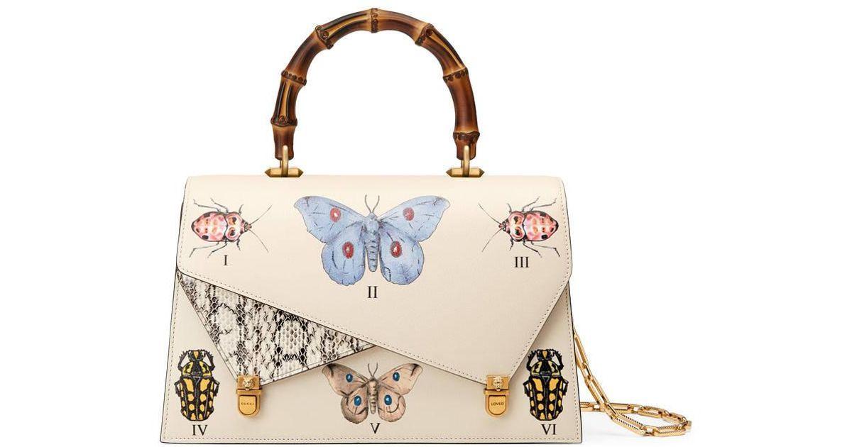 00abdbbf41c Gucci Ottilia Leather Top Handle Bag in White - Lyst