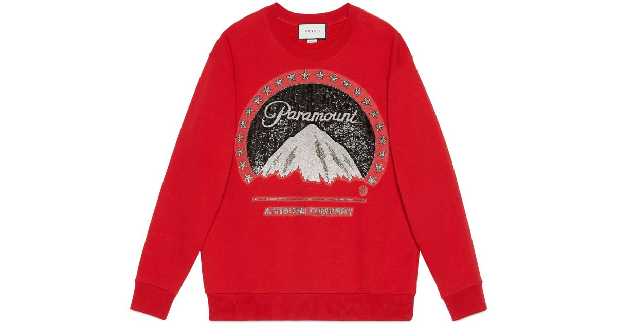 3e48dfa3 Gucci Oversize Sweatshirt With Paramount Logo in Red - Save 11% - Lyst