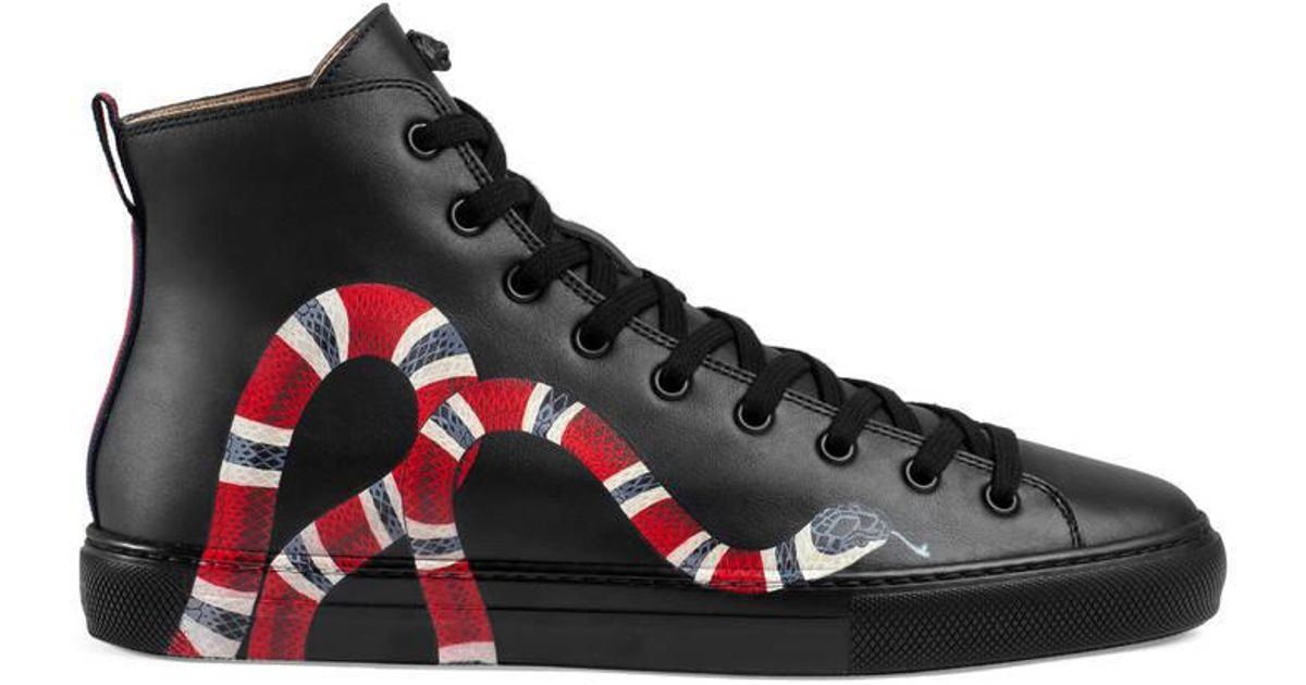 Gucci Leather High Top With Snake In Black For Men