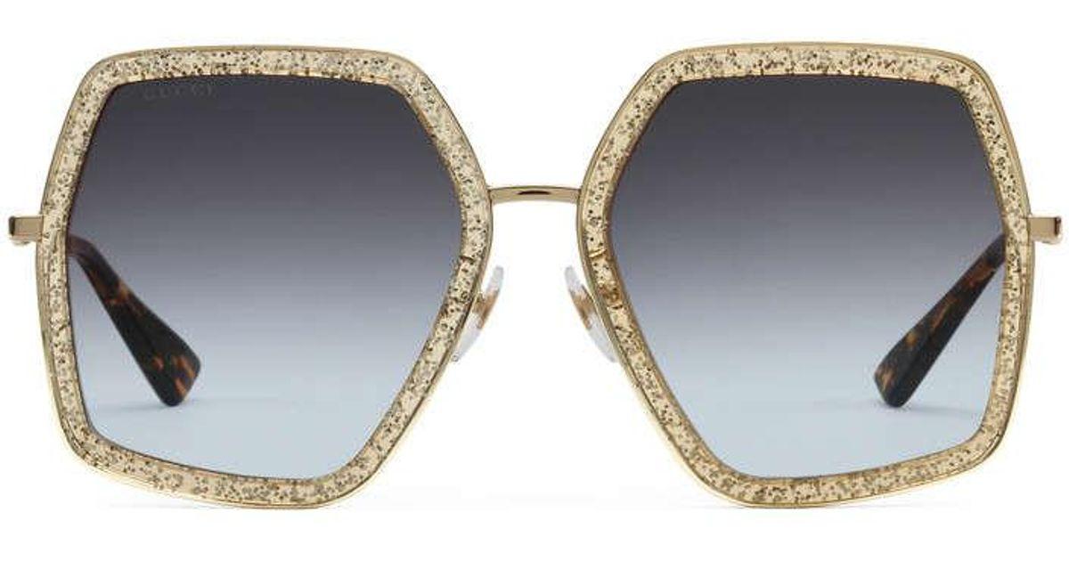 4c7c03b49101 Gucci Oversize Square-frame Metal Sunglasses in Metallic - Lyst