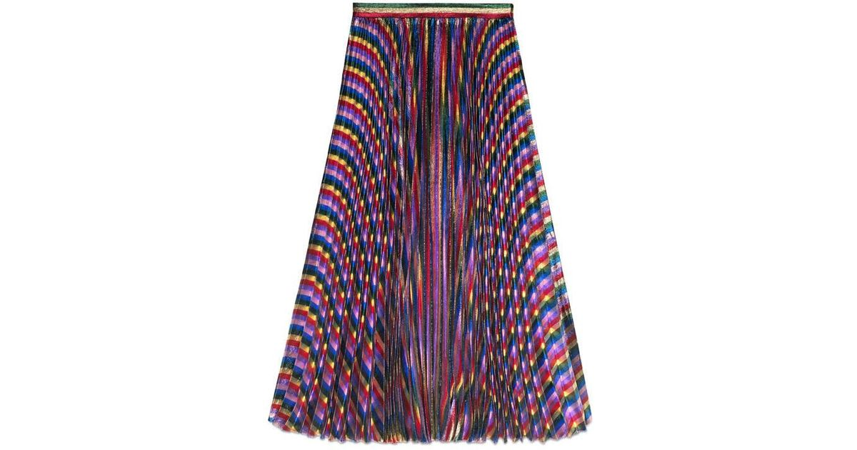 d41e64384 Gucci Iridescent Pleated Skirt in Blue - Lyst