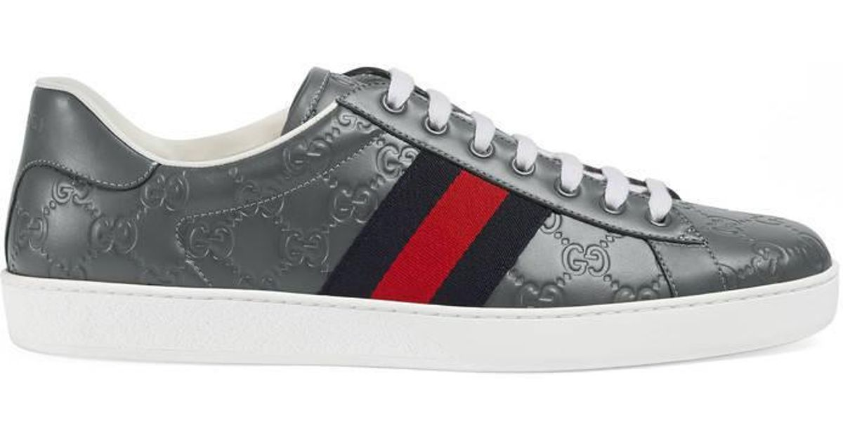 69cdc16ae860 Lyst - Gucci Ace Signature Low-top Sneaker in Gray for Men