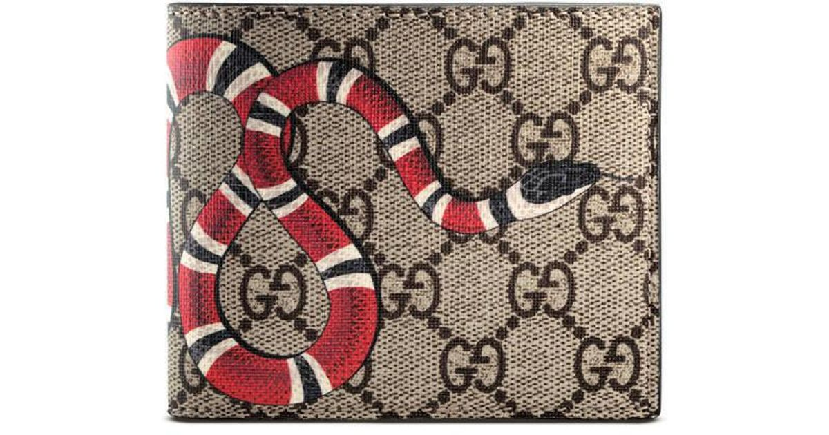 d168ed01d96d Lyst Gucci Kingsnake Print Gg Supreme Wallet In Natural For Men