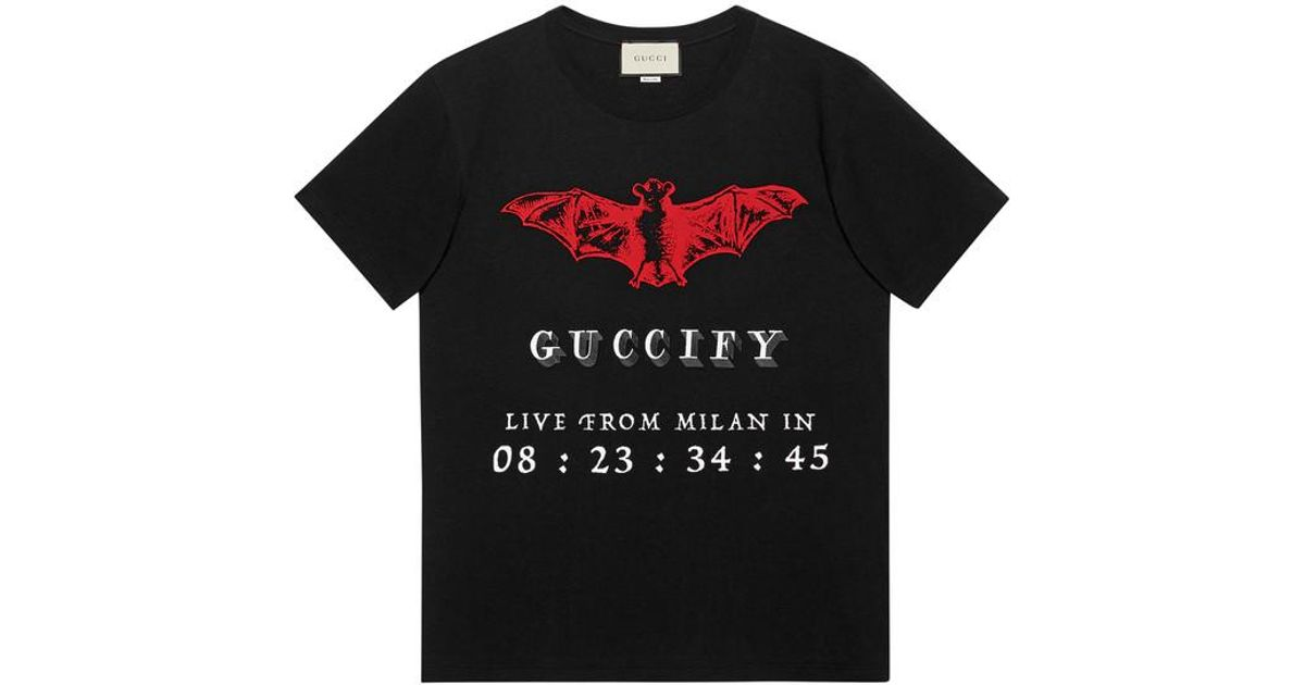 8568aa42 Gucci Oversize T-shirt With Fy Invite in Black for Men - Lyst