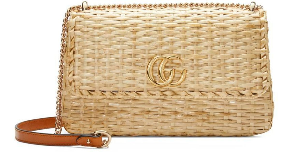b7fb6039a8fe69 Gucci Small Linea Cestino Glazed Wicker Shoulder Bag in Natural - Lyst